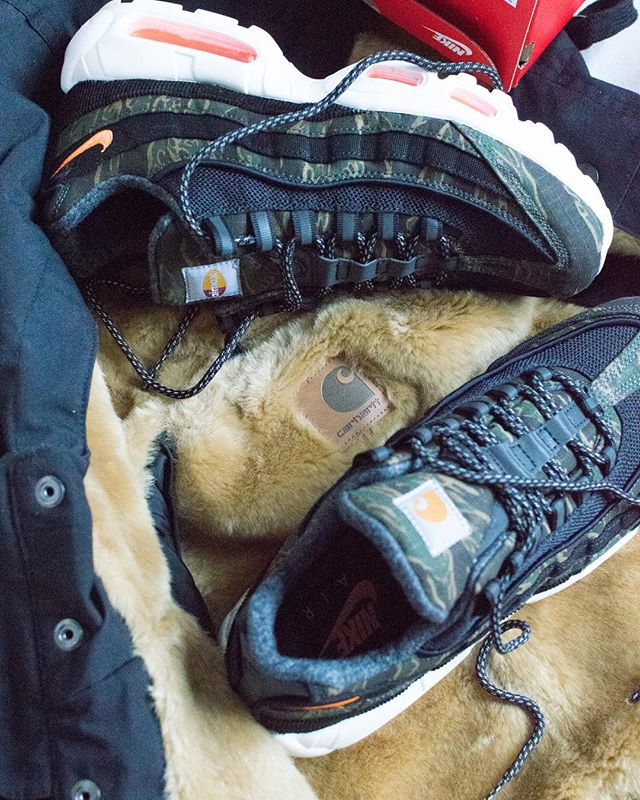 Nike x Carhartt Air Max 95s. 'The All American Concept' - A piece on Carhartt's place in streetwear and the current work wear trend. Words by @jawcuzzi for Issue 02