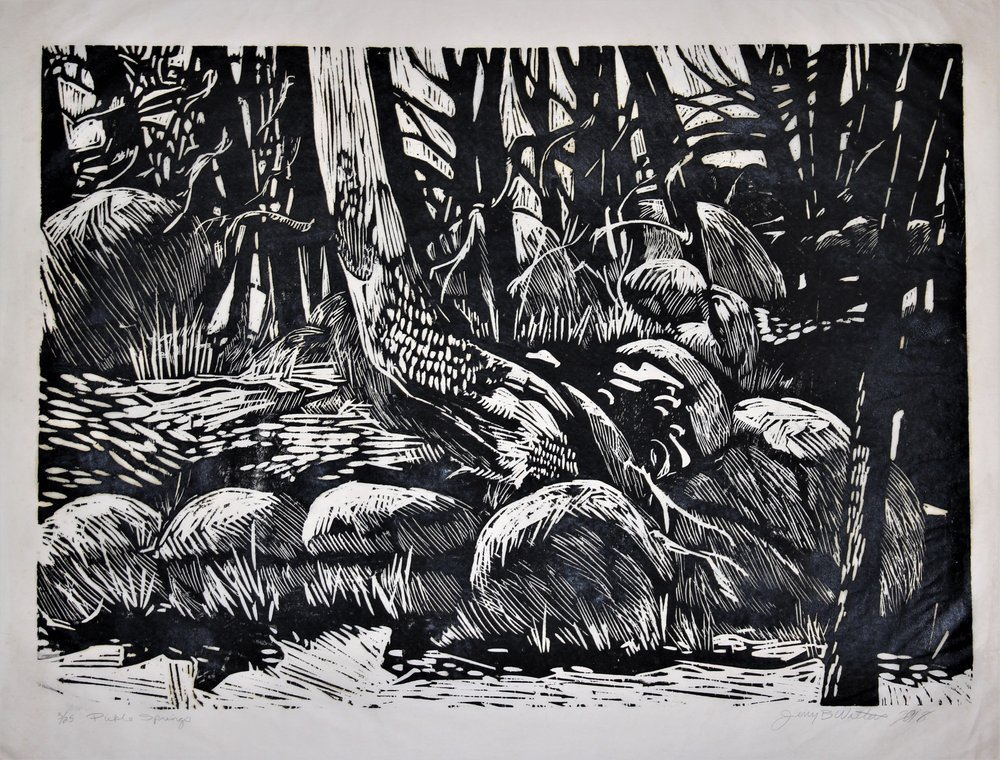 "Jerry Walters, ""pickle Springs,"" Woodblock print, 36"" x 48"""