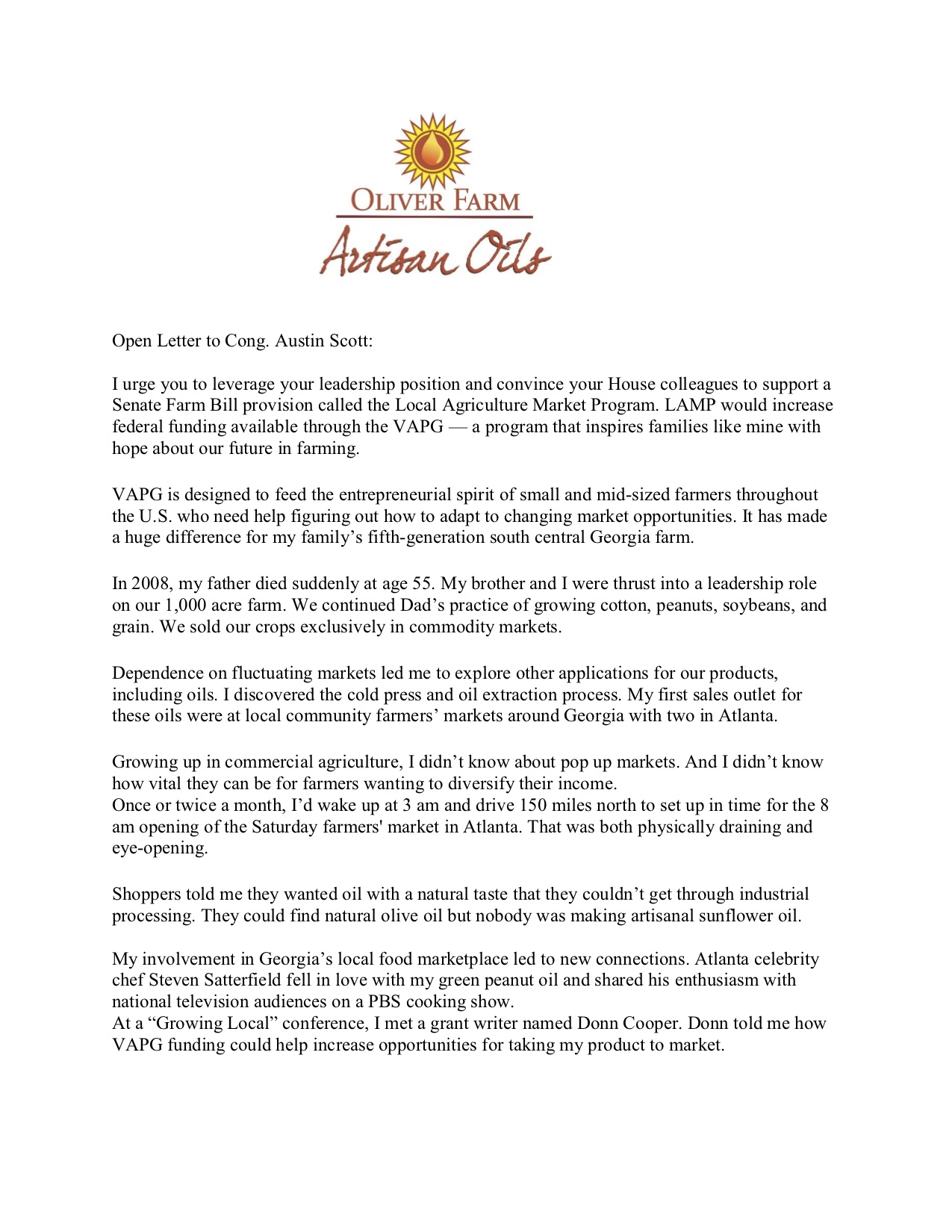 Clay Oliver's open letter to Congressman Austin Scott of the
