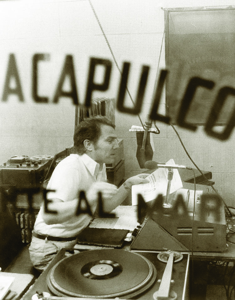 Luis recording radio in Mexico.