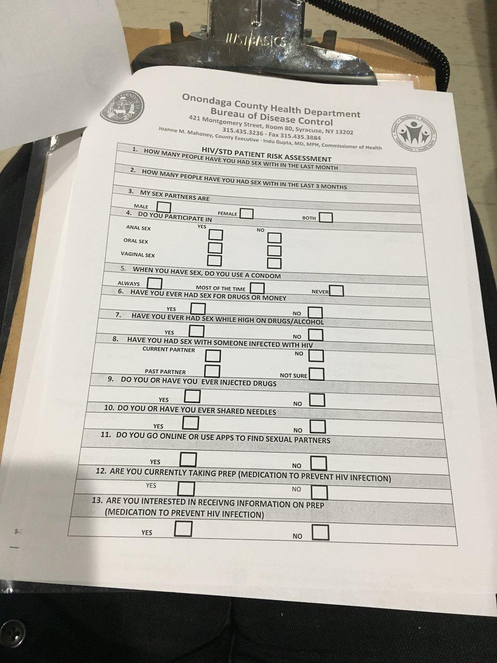 Patient risk assesment form