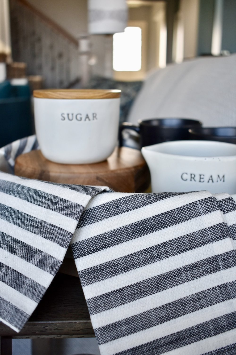 On The Paige Blog | Styling Hearth & Hand with Magnolia | Cream & Sugar Cellars | Stoneware | Coffee Tray | Rustic Farmhouse Kitchen
