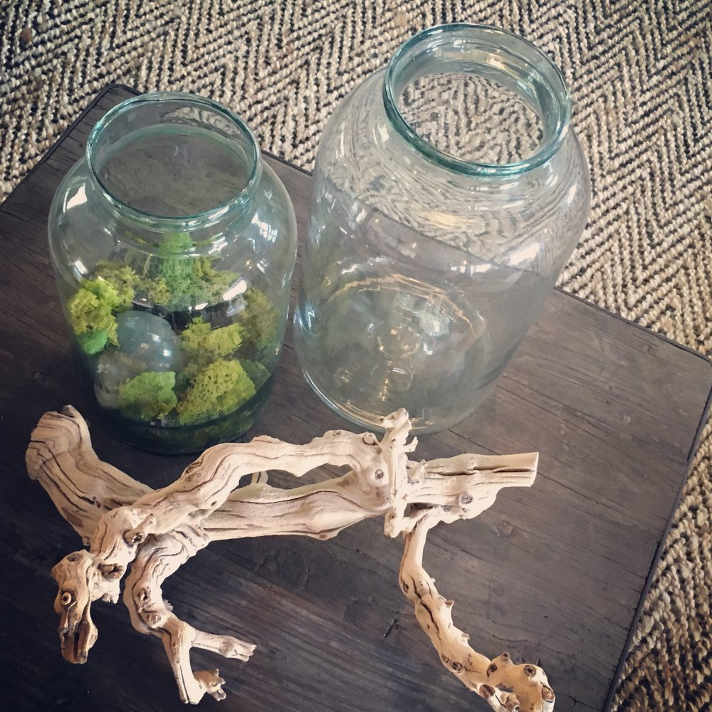 Antique pickle jars make a great table setting.