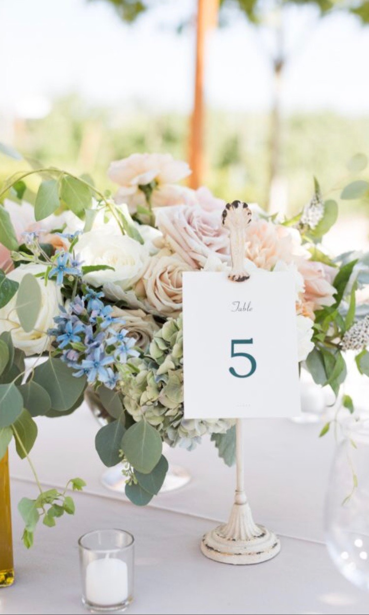 Cream Antiqued Metal Clip Stands  $4 per day   16 Available  Photo By:  Jen Philips Photography