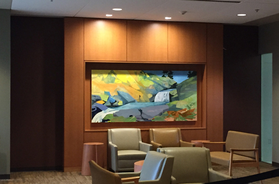 "Falls Creek for Georgia, 2014 Commission, North Georgia Health Service, Hospital at Braselton, GA Mixed Media on Linen, 42 X 90"" Distinctive Art Source, Art Consultants"