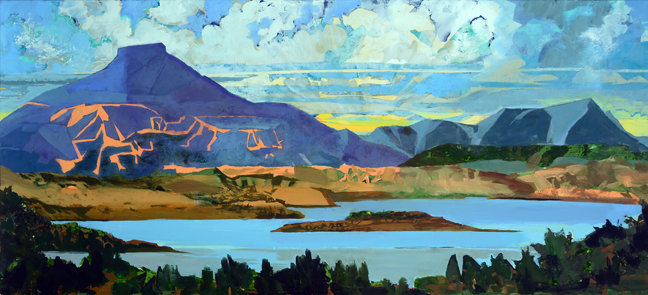 "Pedernal, When First We Met, 2016 Mixed Media on Linen, 34 X 74""  Depicts the mountain, Pedernal, and lake as seen from a viewpoint near Ghost Ranch, NM  On view until November, 2018 at the Sloan Kettering Memorial Cancer Center, West. Harrison, NY Available for purchase via the studio."