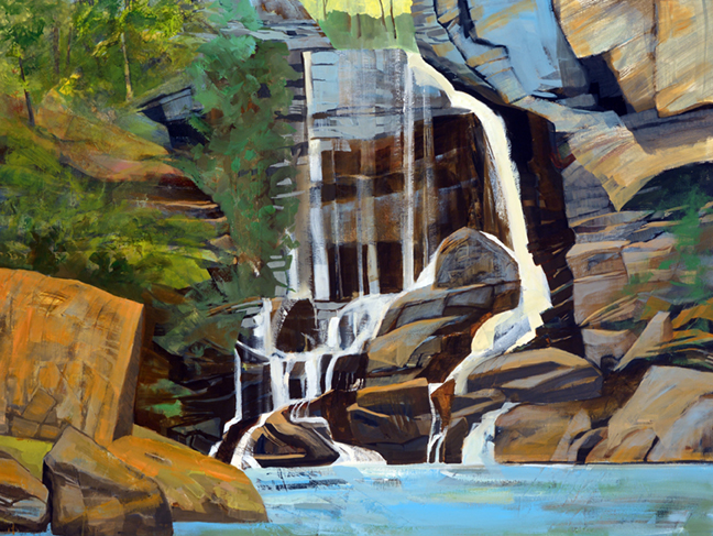 """Big Bradley Falls, NC, 2018 Mixed Media on Linen, 38 X 50"""" SOLD Hospital collection in Charlotte, NC"""