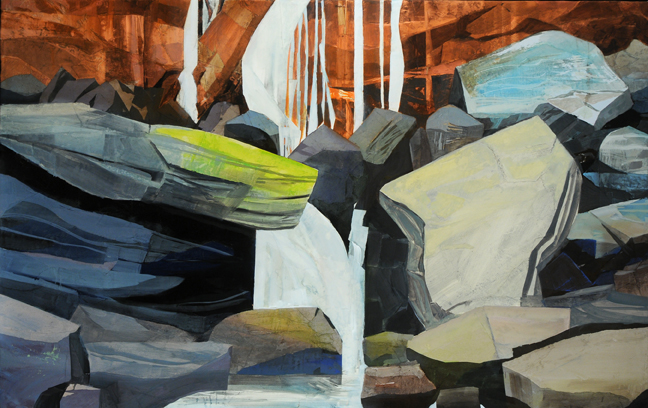 - Water Falling, Rocks Fallen, 2014Mixed Media on Linen, 38 X 60