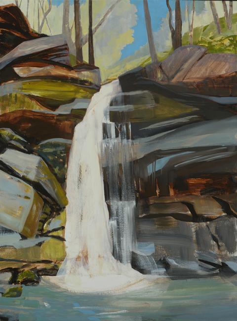 - Finding Hidden Valley Falls, 2017Mixed Media on Wood Panel, 40 X 30