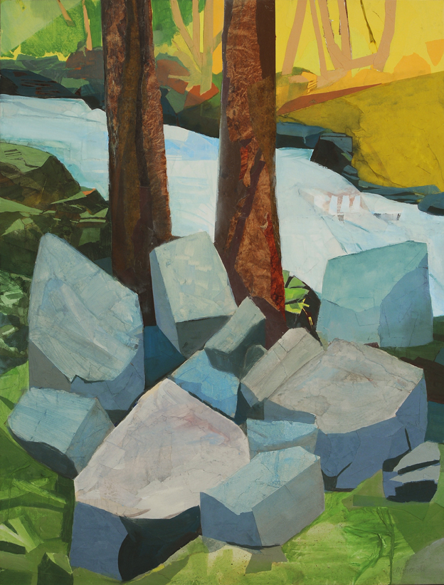 - The Rocks, The River, You and Me, 2014Mixed Media on Linen, 50 X 38