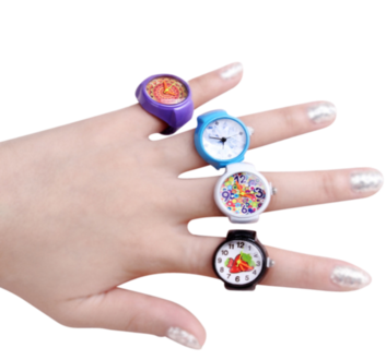 Girl's Fashion Watchring - Includes: - mainly for girls, but boys can wear them too. - variety of colors - very small item, not recommended for children under the age of 5 years - stainless steel casing and stretch band - various styles available to include: * hearts * butterflies * peace signs * smileys * ladybugs * flowersSEE STYLES PDF$1.50 Shipping Cost