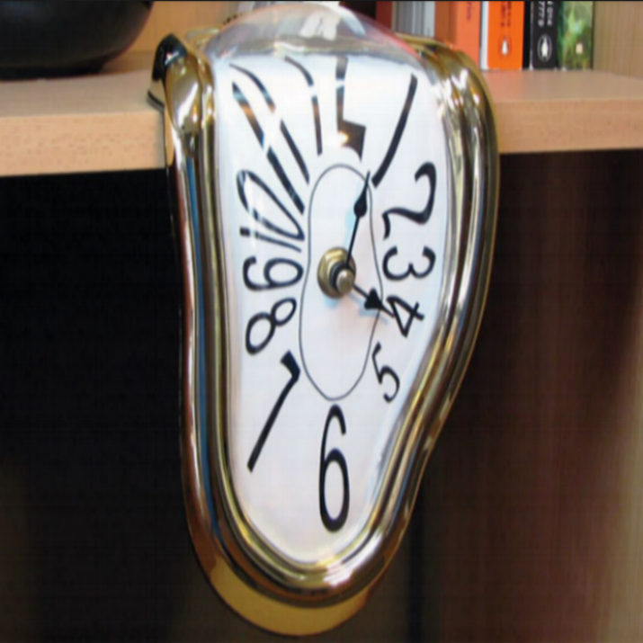 Distortion makes for distinction - Our own Salvador Dali inspired melting table/mantle clock from the time wrapped classic