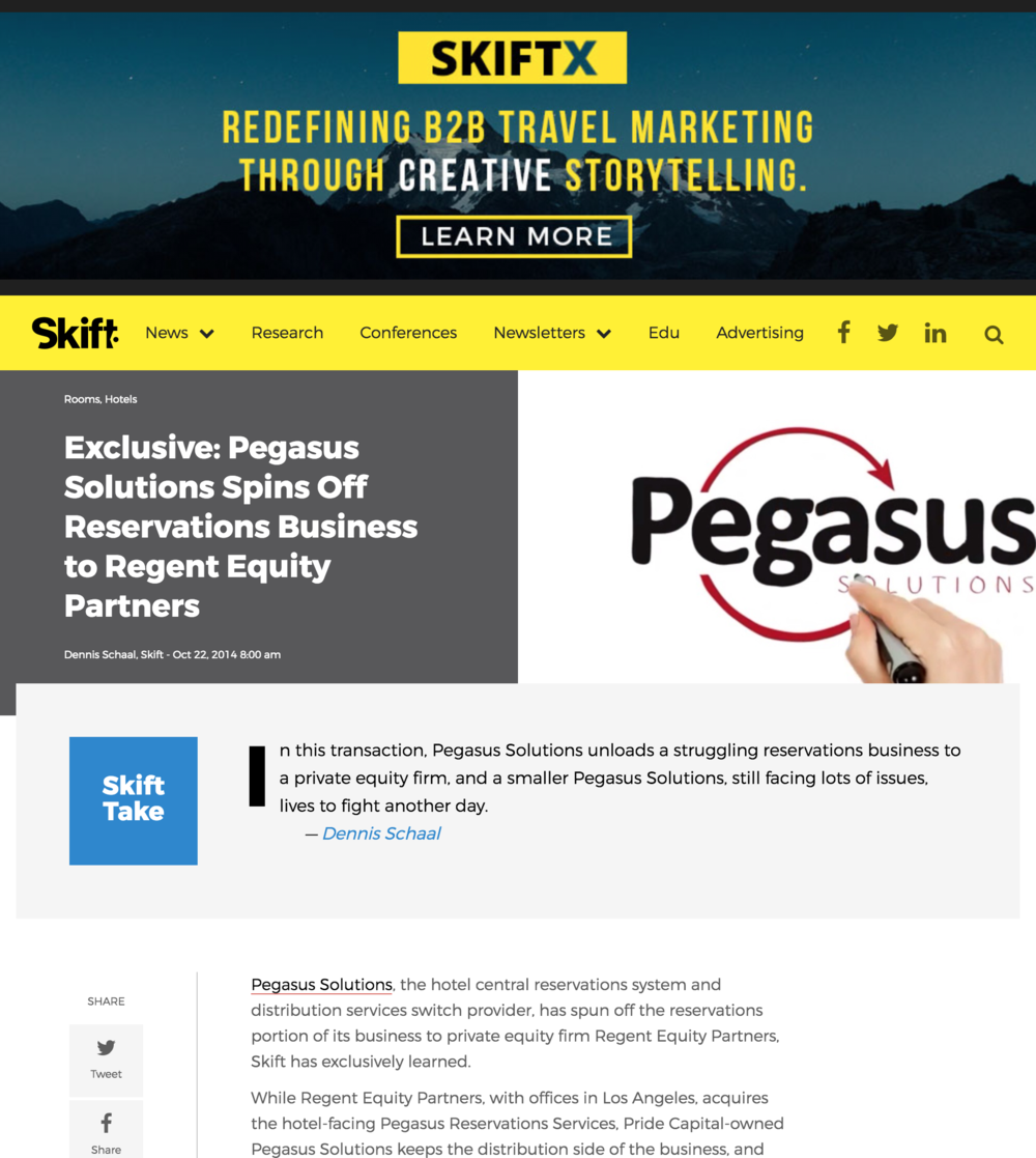 Pegasus Solutions Spins Off Reservations Business to Regent - Skift, October 22, 2014