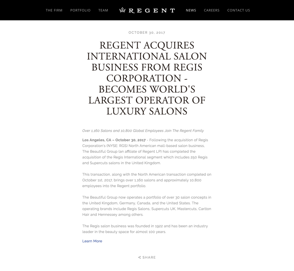 Regent Acquires International Salon Business - Regent, October 30, 2017
