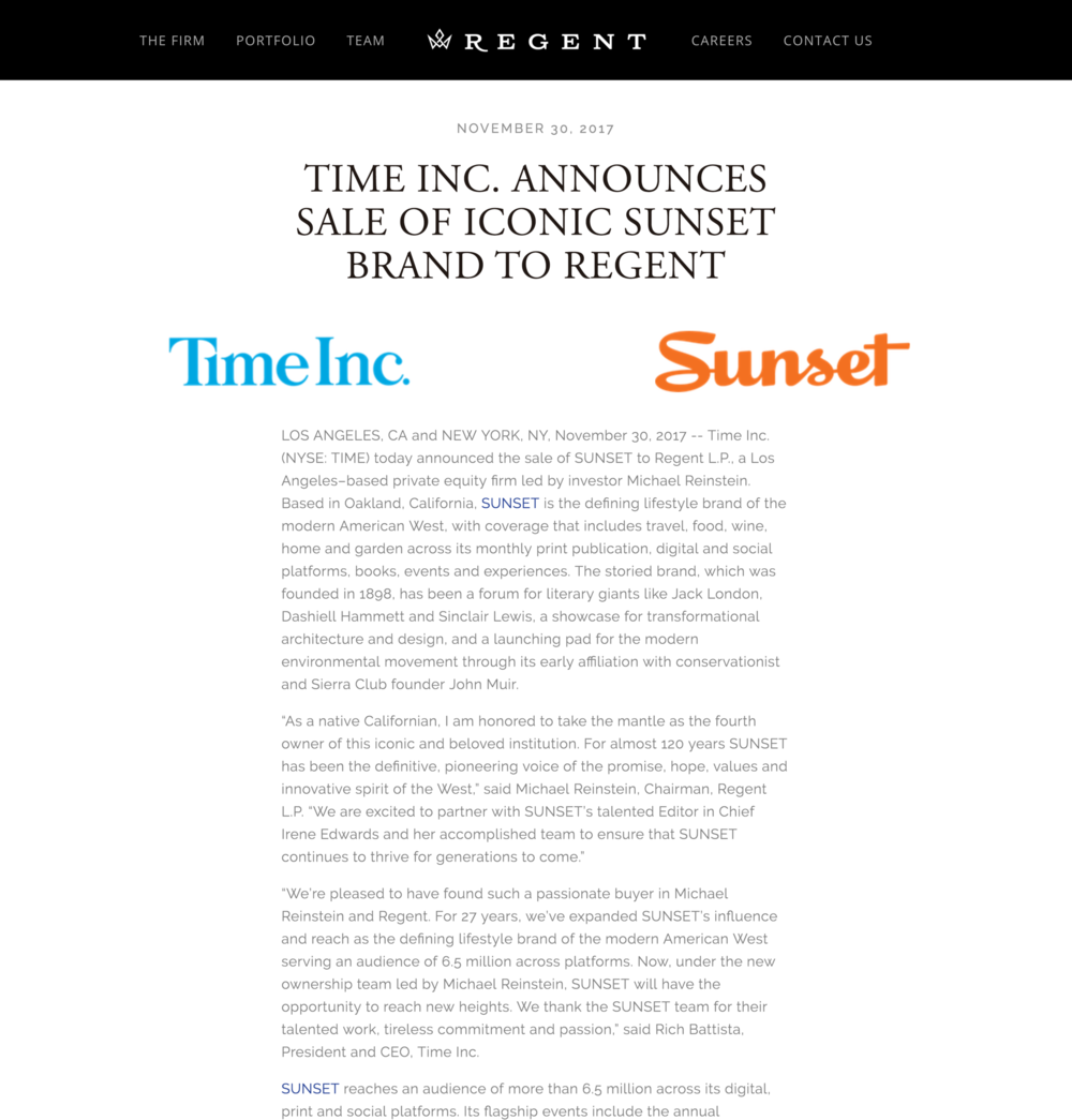 Time Inc. Announces Sale of Iconic SUNSET Brand to Regent - Regent, November 30, 2017