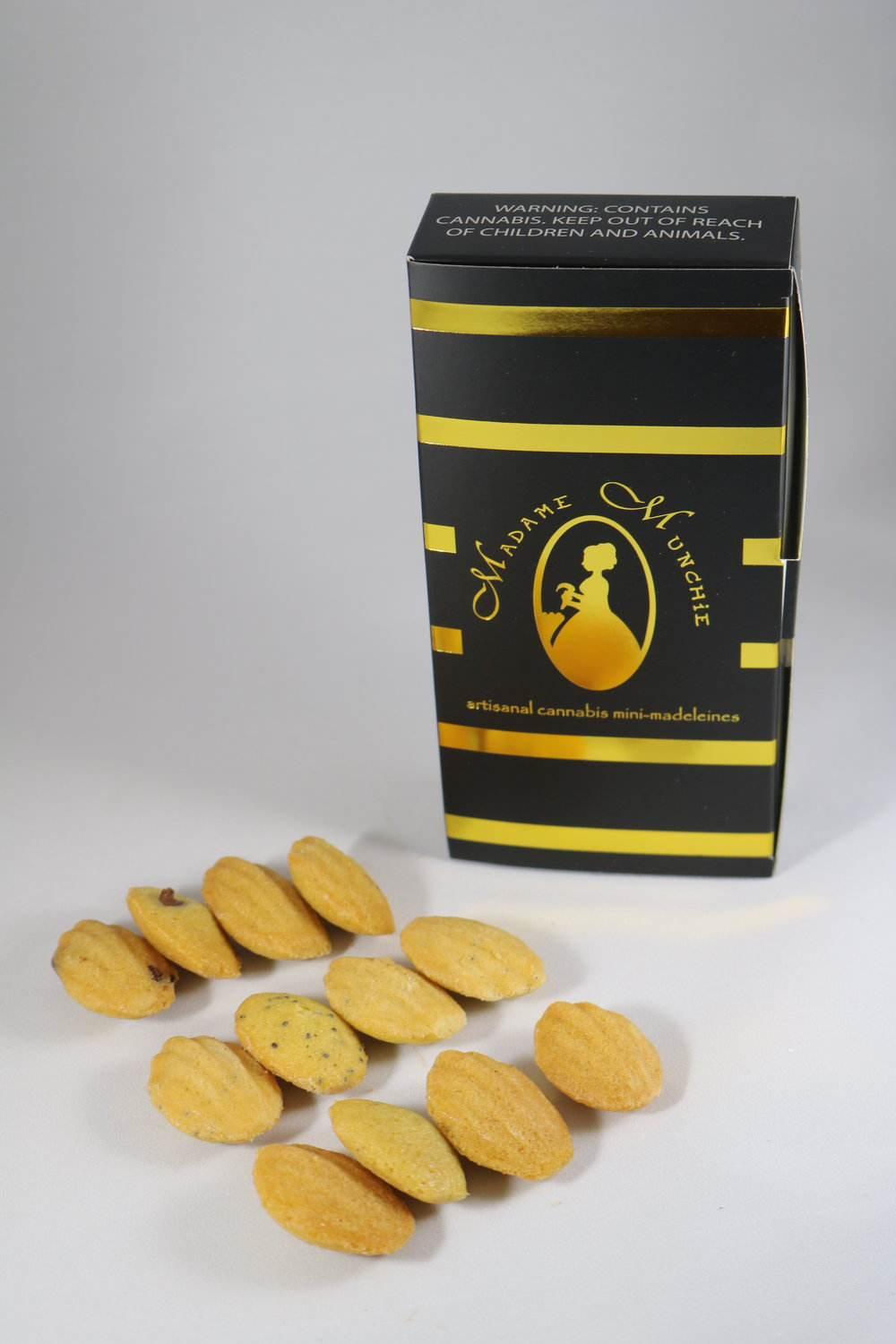 12 madeleines per box - 3 different flavors - 120mg THC all together
