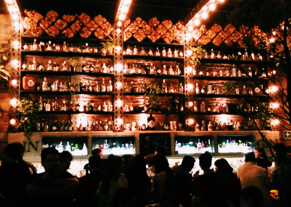Bottles lit up to the ceiling at Gin Gin