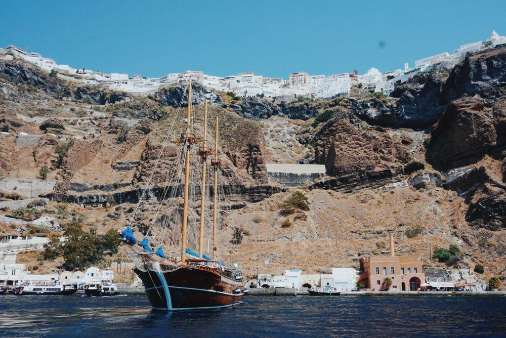 Santorini Thirasia catamaran boat