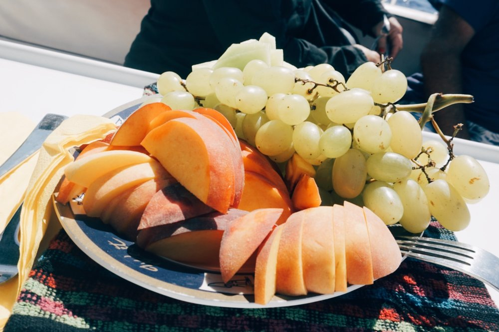 Fresh fruit platter on Barbarossa Sailing cruise
