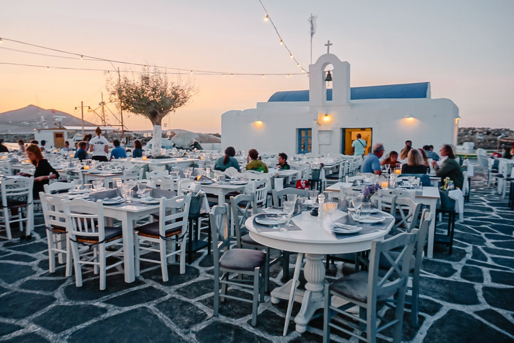 Paros Barbarossa restaurant in the harbor