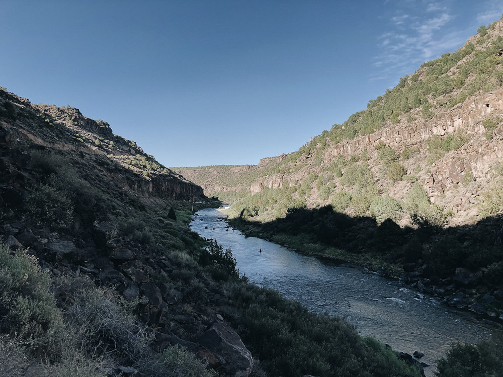View of the Rio Grande from Black Rock hot springs New Mexico