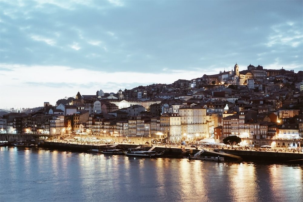 Ribeira Porto sunset nighttime
