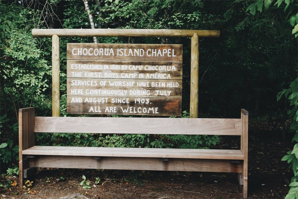 Church Island Chocorua Chapel Squam Lake sign