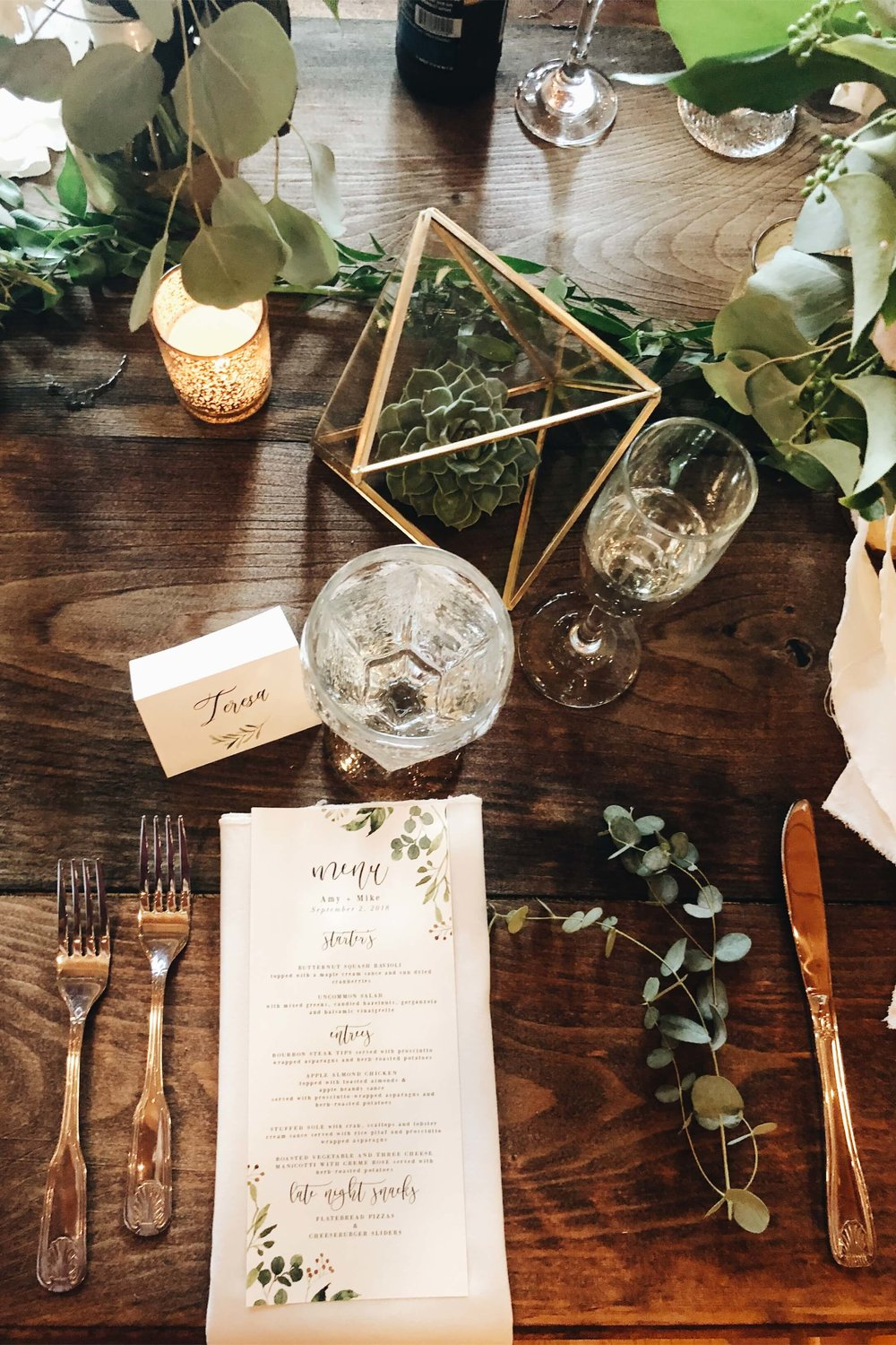 place setting at rustic Squam Lake wedding reception