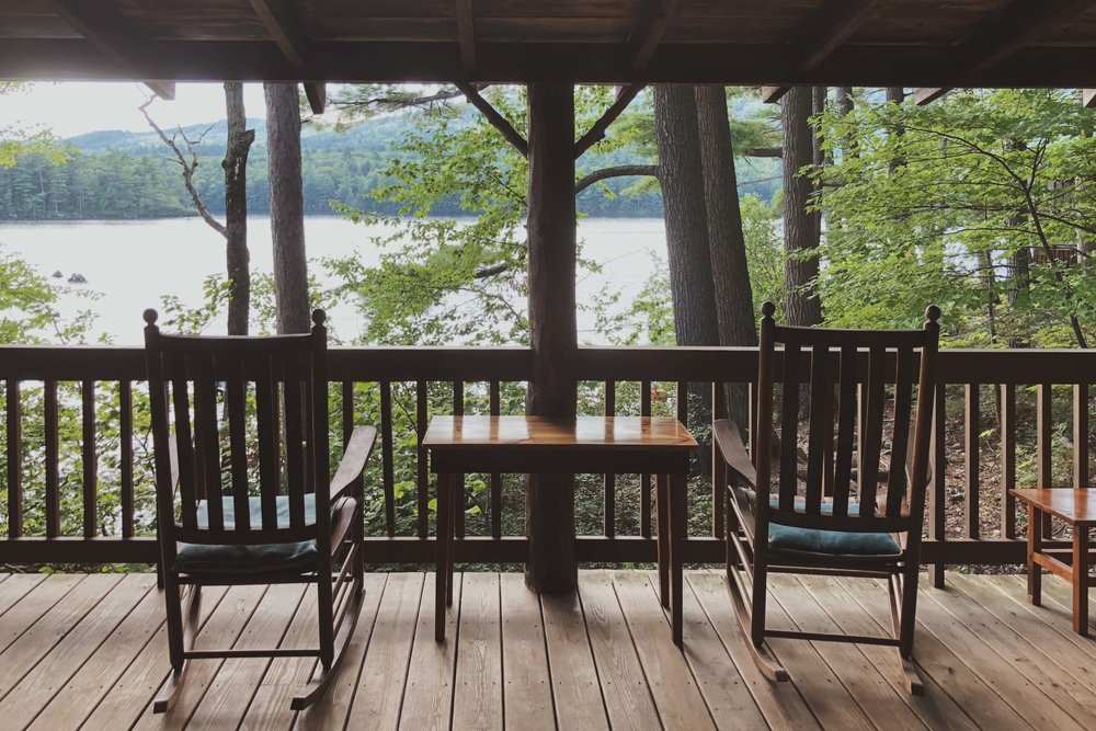 Squam Lake rocking chairs on the porch
