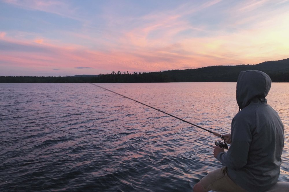 Fishing at sunset on Little Squam