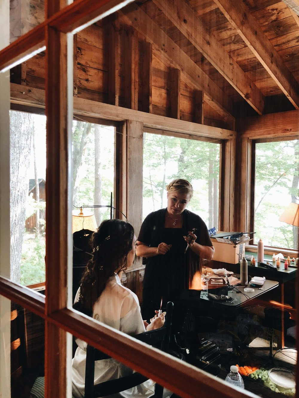 Bride getting ready RDC Squam wedding