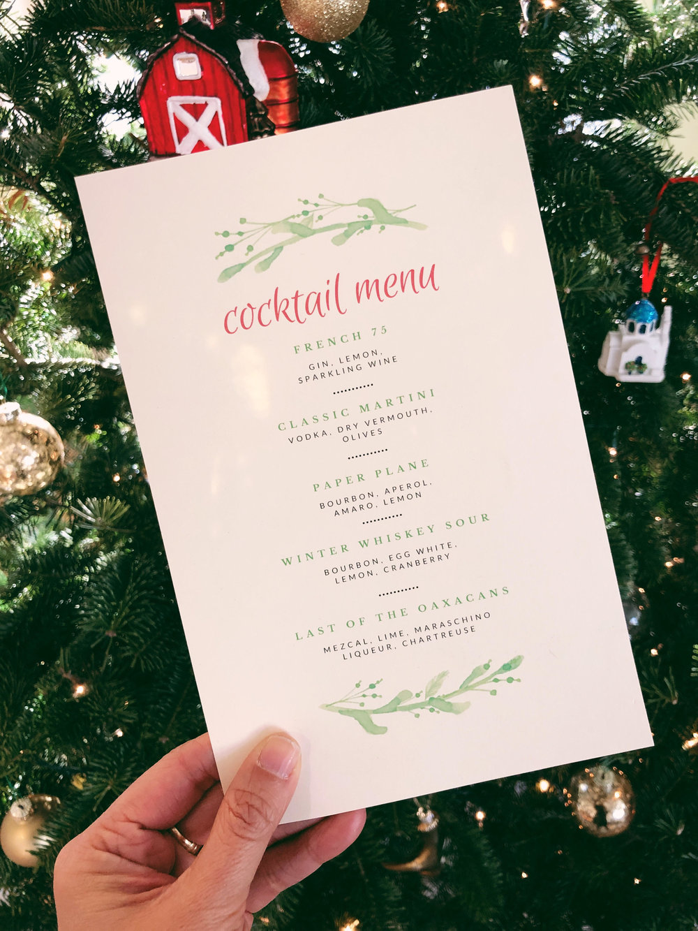 Template Home Holiday Cocktail Party Menu