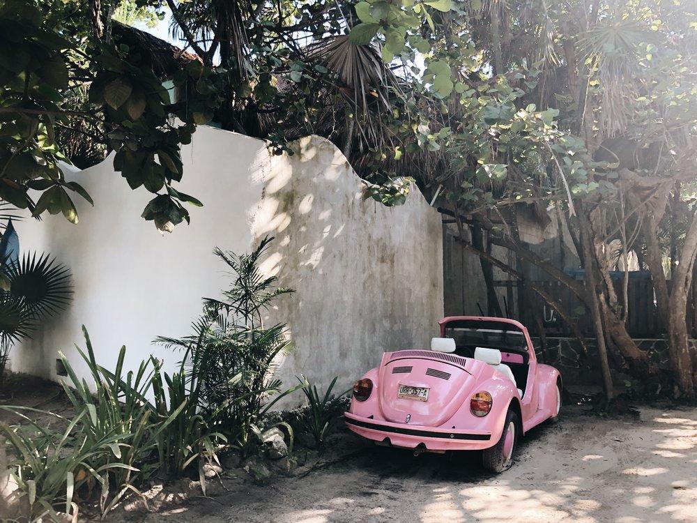 Tulum pink car