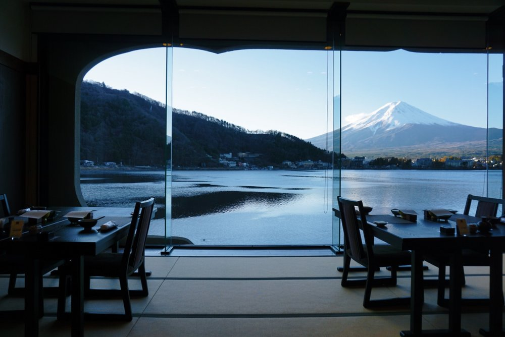 Mt. Fuji view from dining room Kozantei Ubuya
