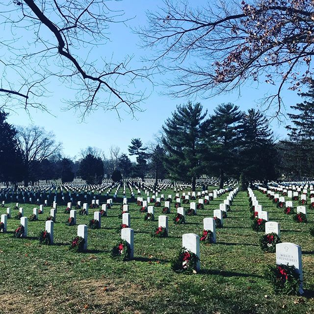 Beautiful day at Arlington Cemetery for Wreaths Across America