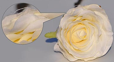"""Note the fraying edges of a """"silk"""" flower."""