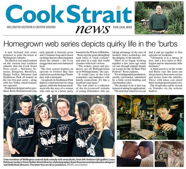 Take a moment out of your 'quirky life' to read this sweet feature in the local rag 🎠 Thanks Cook Strait news! You can read it on our FB to save on squinting 👁👁 . . . #burbstv #webseries #Wellington #whywellington