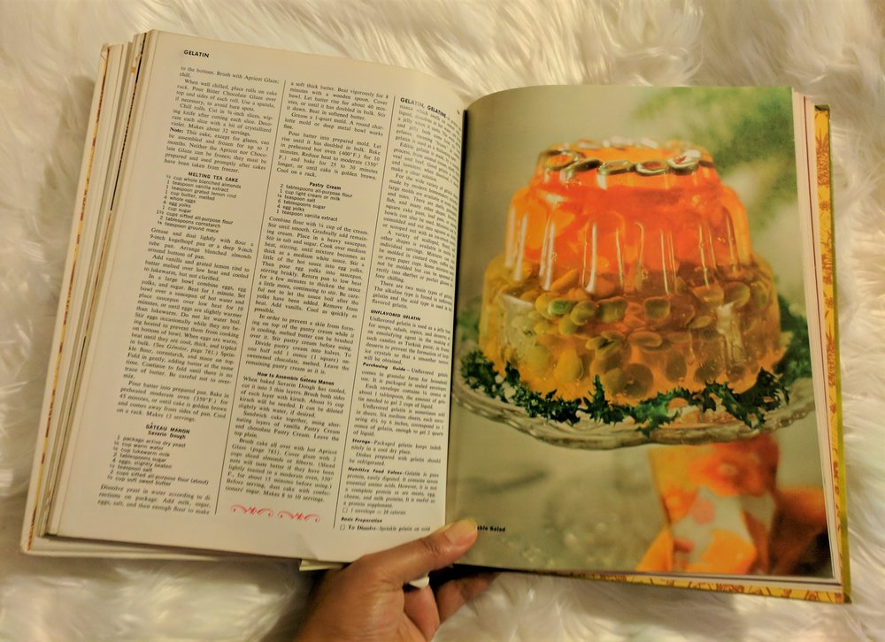 Vintage cookbook onto which memory device projected contents of Rhonda's reading.