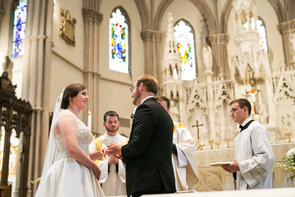 pittsburgh bride and groom exchange vows