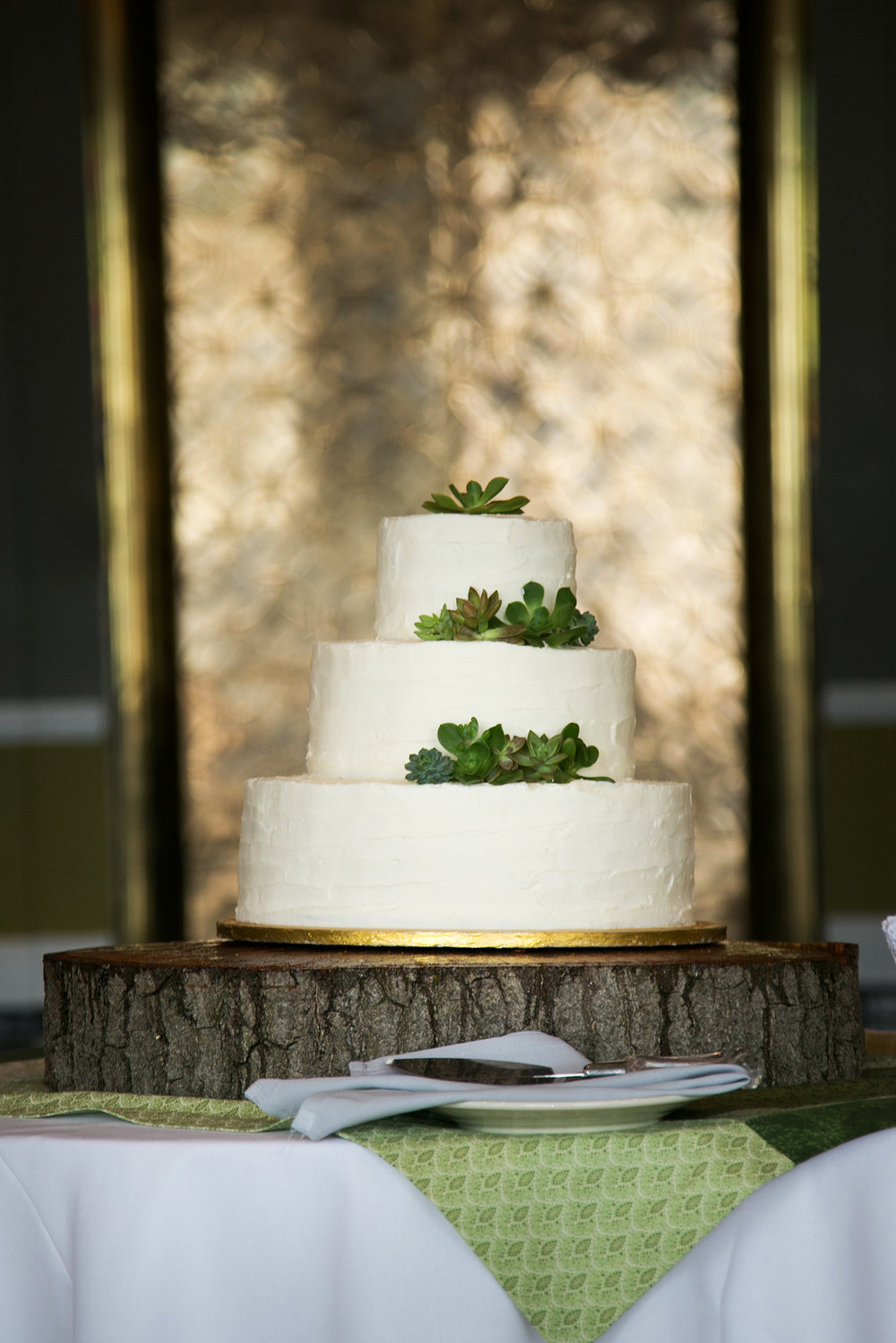 wedding cake with succulent topper