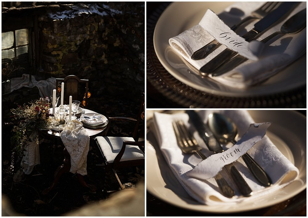 winter wedding styled photoshoot pittsburgh pennsylvania tablescape details