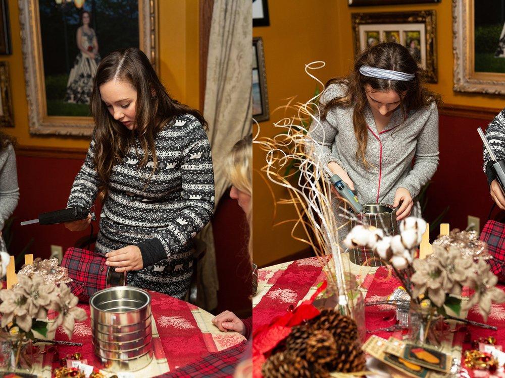 2019 VIP Representatives create christmas evergreen centerpieces to donate to local nursing home