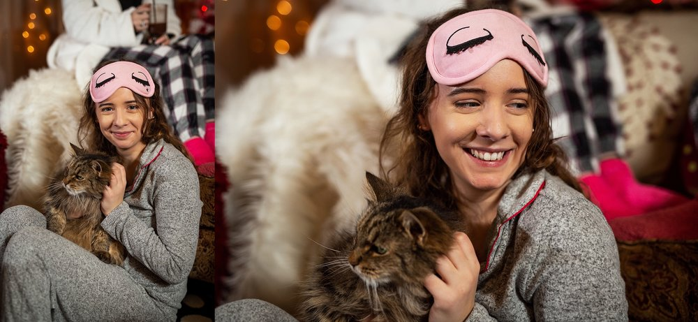 Marissa Tunstall cuddling with Bella the cat at 2019 VIP Representative Christmas party/photoshoot