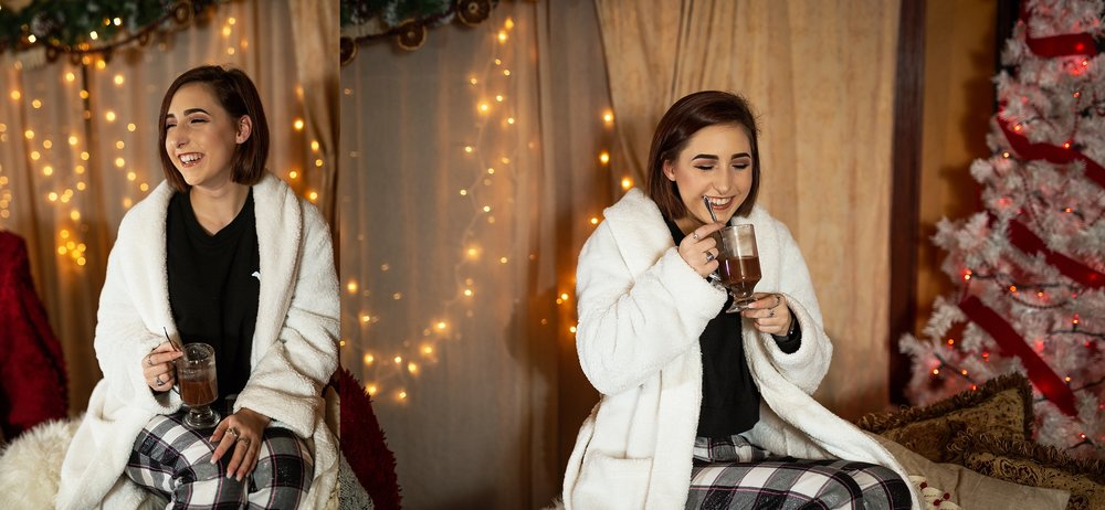 Jessica Miladinovich at 2019 VIP Representative Christmas Pj Party drinking hot cocoa