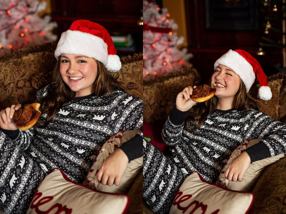 Blake Tonkin, 2019 VIP Representative, eating a freshly bake cinnamon roll at the christmas pajama party and photoshoot