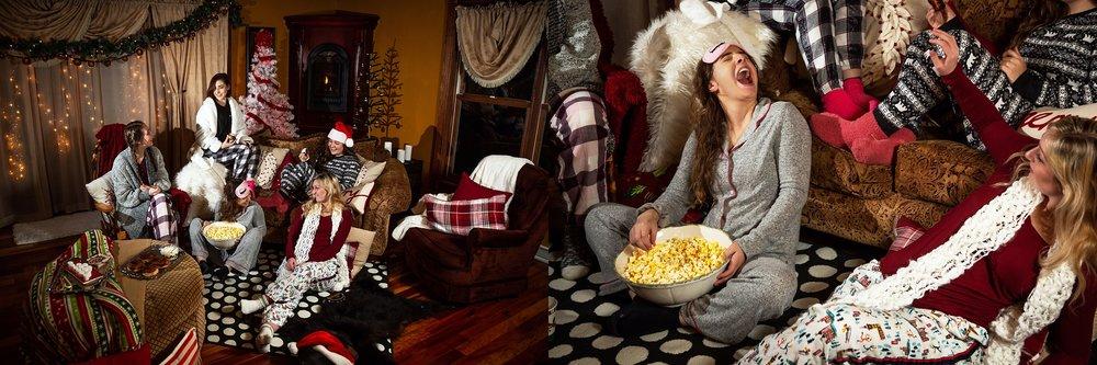 2019 VIP Representatives Christmas Party Group Pajama Photoshoot. Cinnamon Roll. Popcorn, Hot Cocoa treats. Throwing popcorn.