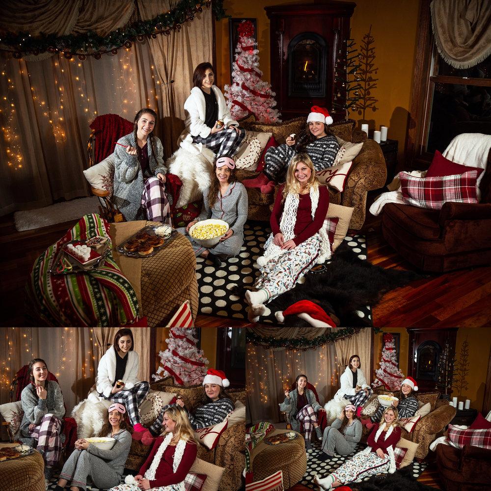 2019 VIP Representatives Christmas Party Group Pajama Photoshoot. Cinnamon Roll. Popcorn, Hot Cocoa treats. Candid smiles. Lots of fun.