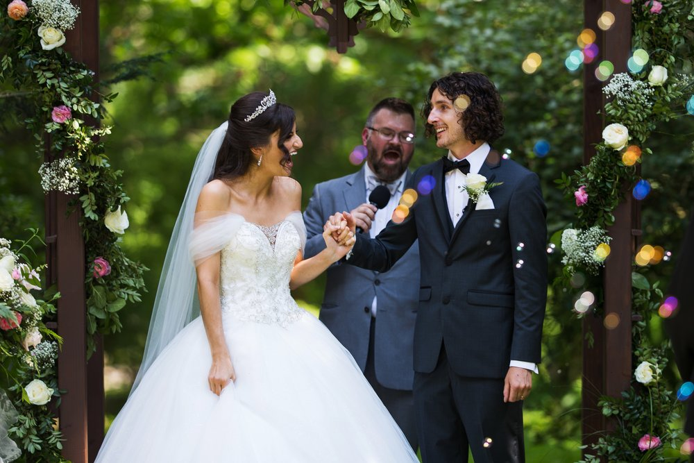 Bride and Groom and Bubble Exit
