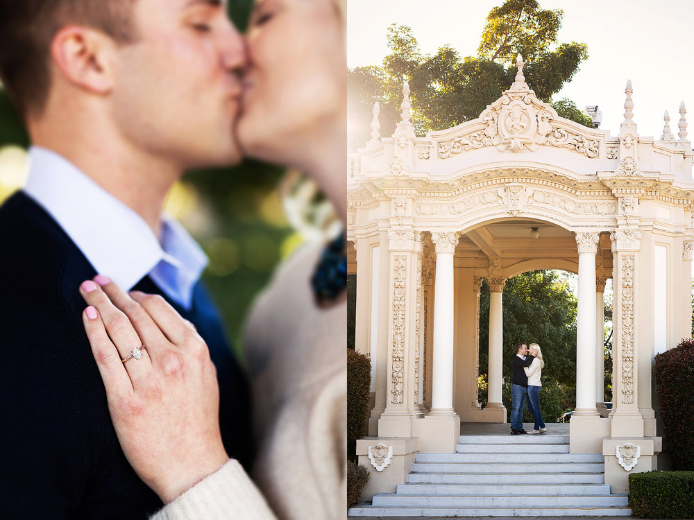 Cora and Zach take on Balboa park in San Diego for their engagement session. Here they are back lit by the golden hour sun at the Spreckels Organ Pavillion where Cora shows off her engagement ring.