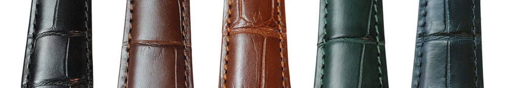 Each Reference 1 is adorned with a semi-matte strap made of shimmering alligator leather from Louisiana, USA. We offer variable sizing to ensure that all wrist sizes are accommodated. Straps are available in black, brown, cognac, dark green and dark blue - additional colours can often be delivered on request.   All Birchall & Taylor straps are sourced and delivered in accordance with CITES.